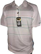 NWT Pebble Beach Men's Golf Shirt Small Dri-Fit White Collared1/4button Polo $65