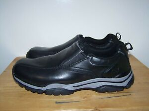 SKECHERS Relaxed Fit ROVATO-VENTEN SN65415 Black Leather Mens Shoes UK-10 EU-45