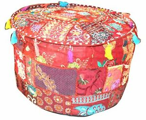 Indian Ottoman Seat Pouffe Cover Embroidered Patch Cotton Round Pouf Footstool