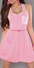 PINK STRIPED dress lace skater loose keyhole stripe 8 10 12 summer holiday BELT