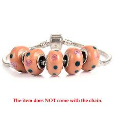 5Pcs Brown Murano Glass Flowers European Beads For Bracelets Chain