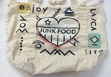 JUNK FOOD Screen Printed Tote Bag Shopper • Ivory Trade Show Promo • Enjoy Life