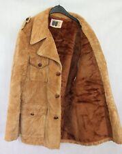 Vintage 1970s Beige Botones de madera forrado de piel de abrigo de Cable Talle 50 euros-REINO UNIDO/EE. UU. 40