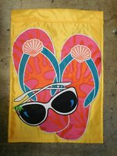 Summer, Pink, Orange, Turquoise, Flip Flop, Sunshades, Palm applique Garden flag