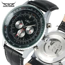 JARAGAR Mens Wristwatch Skeleton Automatic Mechanical Watch Leather Band Watches