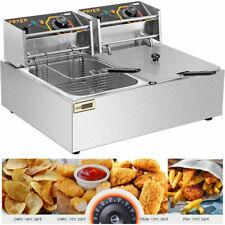 New Listing5000w 20qt Commercial Electric Deep Fryer With 2x103qt Oil Tank Amp 2x63qt Baskets
