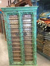 Antique Armoire Brass Patina Green Storage Cabinet Eclectic Furniture free ship