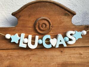 """LUCAS"" NAMENSKETTE KINDERZIMMER TÜR HOLZBUCHSTABEN TAUFE DEKO JUNGE BABY NAME"