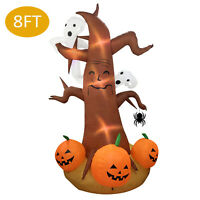 8 Foot Halloween Inflatable Pumpkin Ghost Tree Yard Art Decoration W/ LED Lights