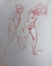 Harry Carmean figure drawing of female model white highlights 1976 2 poses