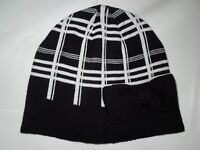 Kate Spade Black & cream plaid knit winter beanie Hat  nwt