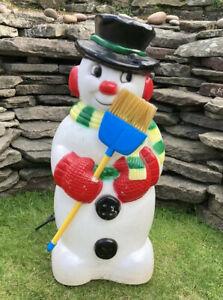 Vintage Snowman Outside Light Festive Retro Glow Blow Mould