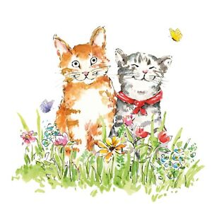 4 x Single Paper Napkins/3PLY/33cm/Decoupage/Two Cats/O'Malley and Friend