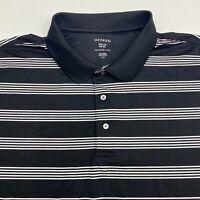 George Polo Shirt Men's Size 3XL XXXL Short Sleeve Black Striped 100% Polyester