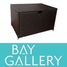 New Outdoor Wicker Storage Box Deck Yard Patio BBQ Rattan Cane Garden Furniture