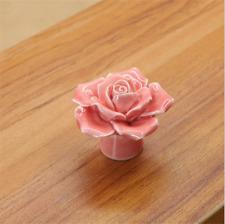 3D Porcelain Rose Ceramic Knobs Cupboard Cabinet Drawer Pull Furniture Handle H