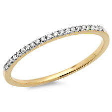 0.08 Carat 10k Yellow Gold Diamond Ladies Wedding Band Stackable Ring (Size 9)