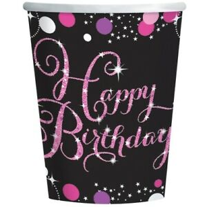 40th Pink Sparkling Celebration Birthday Age Tableware, Decorations and Balloons