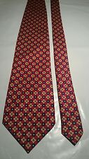 Hardy Amies Men's Vintage Tie in Red Black Yellow and White Geometric Pattern