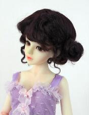 "1/4 1/6 bjd 6-7"" YOSD doll wig deep brown real mohair dollfie yosd W-JD406M2S"