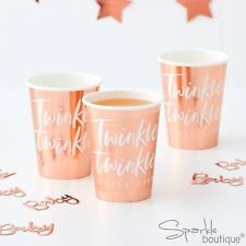 METALLIC ROSE GOLD TWINKLE TWINKLE PAPER CUPS - Baby Shower / 1st Birthday Party