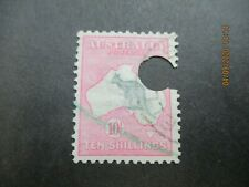 Kangaroo Stamps: 10/- Pink 1st Watermark telegraph certificate authentic   (n87)