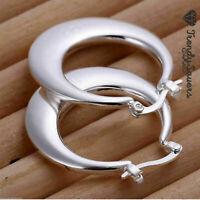 Vintage Women's 925 Sterling Silver Filled Moon Shape Hoop Earrings