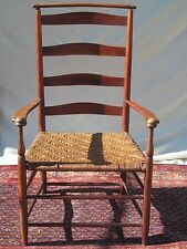 SHAKER # 7 SHAWL BACK ARM CHAIR WITH MUSHROOM CAPS IN RED PAINT FINISH