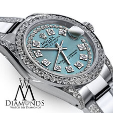 Women's 31mm Rolex SS Oyster Perpetual Datejust Custom Diamonds Dial Ice Blue