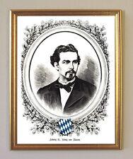 König Ludwig II. seltenes schwarz-weiß-Porträt Büttenfaksimile 6 im Goldrahmen