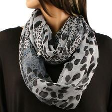 Big Light Weight Soft Mix Leopard Print Long Circle Loop Infinity Scarf Gray Bk