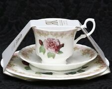 ROY KIRKHAM VINTAGE ROSE Fine Bone China Small Cup, Saucer & Dessert Plate Trio
