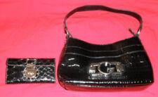 Guess Black Canvas Croc Hand Shoulder Bag Purse w/ matching bi-fold wallet