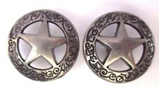 5/8th inch Texas Ranger Badge Star Concho Brushed Antique Silver Medallions
