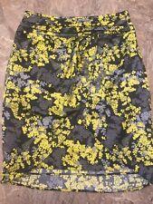 H&M Sz 4 Black Lime Gray Floral Cross Front Wrap Short Mini Skirt Juniors Womens