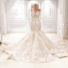 Hot! Luxury White Lvory mermaid Bridal Gown Wedding Dress Custom Size 2-28++++