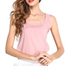 Women Solid Sleeveless Tank Blouse Ladies Chiffon Camisole Vest Tops Cami Plus
