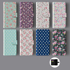 FLORAL SHABBY CHIC ENGLISH ROSES POLKA DOTS LEATHER WALLET PHONE CASE FOR IPHONE