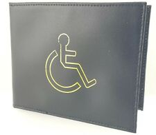 BLACK DISABLED BADGE HOLDER WALLET REAL LEATHER DISABILITY PARKING COVER 1499