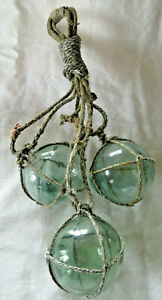 Japanese Fishing Floats (3) Netted Glass Hanging Authentic Pool Tiki Decor
