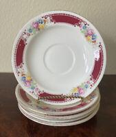 """HOMER LAUGHLIN Porcelain Saucers C55N8 5"""" Burgundy w/ Flowers Gold Trim VINTAGE"""