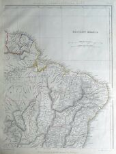 SOUTH AMERICA, EASTERN BRAZIL, SURINAME, FRENCH GUIANA Sharpe antique map 1849