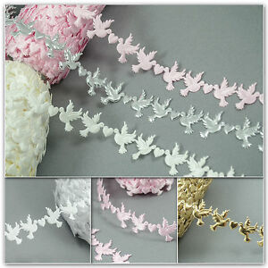 WEDDING Doves & Hearts Embossed Satin Applique Trimming BRAID Lace Ribbon