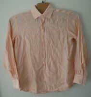 Banana Republic Mens Orange Button Down Long Sleeve Shirt 100% Linen Sz XL