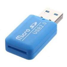 USB 2.0 Haute Vitesse - Adaptateur Lecteur Carte Mémoire Micro SD TF - Bleu