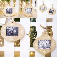 Wooden Christmas Tree Pendant Photo Frame Hanging Ornament Xmas Party Decor CO