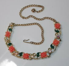 Vintage Gold Choker Necklace Molded Coral Rose Flower Enamel AB Rhinestone 5a 14