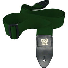 """ERNIE BALL POLYPRO 2"""" FOR ELECTRIC BASS GUITAR STRAP LEATHER END FOREST GREEN"""