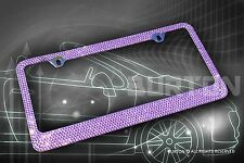 Bling Purple Crystal Diamon METAL License Plate Frame+Cap