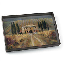 Tuscan Vineyard Decorated Wood Serving Tray